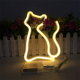 USB Battery Pet Cat Neon Sign Neon Lamp Holiday Light Novelty Cat Shape Decoration Table Lamp LED Night Light Home Decor Warm White/Clear/0-5W