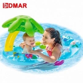 Inflatable Swimming Ring Baby Infant Pool Float Toys With Canopy Sea Mattress Beach Party Kids Adults Toy Sky Blue