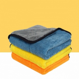 Auto Care 1pc 800gsm 45cmx38cm Super Thick Plush Microfiber Car Cleaning Cloth Car Care Microfibre Wax Polishing Towel Yellow/Coral Fleece
