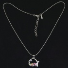 Fashion Colors Imitated Diamond Metal Fish Style Pendant Necklace