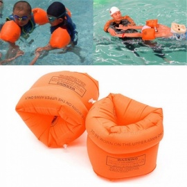2pcs Protable PVC Inflatable Armbands Aid Children Floats Swimming Rings Arm Bands Inflatable Safety Swim Water Rings Orange