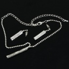 Elegant Crystal Metal Necklace + Earrings Jewelry Set - Silver