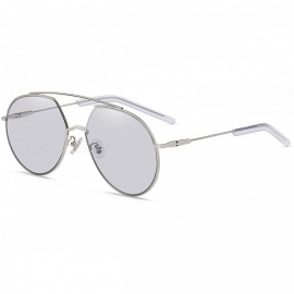 GM 5041 Fashionable Tranparent Gray Lens Silver Frame UV Protection Sunglases