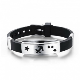 XSUNI Male And Female Titanium Steel Silica Gel 12 Constellation Bracelet Wrist Band Wristbands - Black