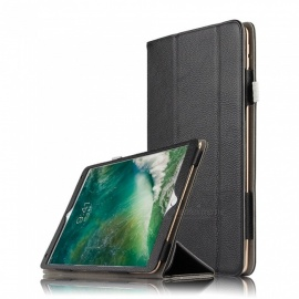 "Real Cow Leather Flip Cover Case with Auto- wake/ Sleep for IPAD PRO 10.5"" - Black"