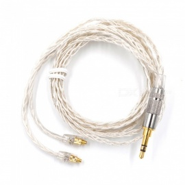 KZ MMCX Interface Silver Upgrade Wire 3.5mm Braided Headphone Cable DIY Universal Music Wire Silver + White