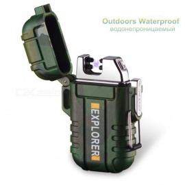Explorer Outdoor Use Waterproof Windproof Double Arc Pulse Plasma Cigarette Smoking Lighter USB Charging Electric Metal Lighter