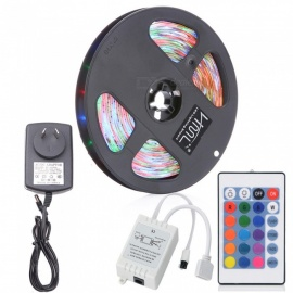 HML 5M 24W Waterproof RGB SMD2835 300 LED Strip Lights with IR 24-Key Remote Control + Adapter (AU Plug)