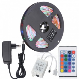 HML 5M 24W Waterproof RGB SMD2835 300 LED Strip Lights with IR 24-Key Remote Control + Adapter (EU Plug)