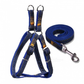 Thick And Wear-Resistant Quality Cowboy Pet Chest Strap Traction Rope - Blue