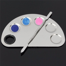 Stainless Steel Cosmetic Makeup Nail Art Gel Palette Spatula Five-hole Shape Cream Foundation Mixing Tool
