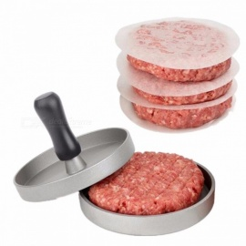 1 set forme ronde hamburger presse en alliage d'aluminium 11 cm hamburger viande bœuf grill burger presse patty maker moule gris clair