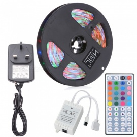 HML 5M 24W Waterproof RGB SMD2835 300 LED Strip Lights with IR 44-Key Remote Control + Adapter (UK Plug)