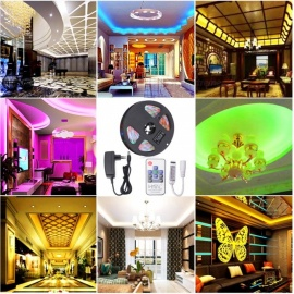 HML 5M 24W Waterproof RGB SMD2835 300 LED Strip Lights with IR 10-Key RF Remote Control + Adapter (EU Plug)