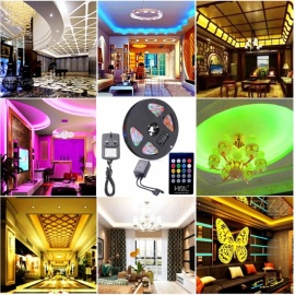 HML 5M 24W Waterproof RGB SMD2835 300 LED Strip Lights with 20-Key Voice Music Remote Control + Adapter (UK Plug)