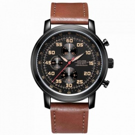 Hannah Martin 2003 Men's Quartz Japanese movement Leather Strap 3 Decorative Dial 30M Waterproof Casual Watch