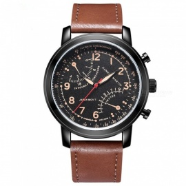 Hannah Martin 2004 Men's Quartz Japanese movement Leather Strap 30M Waterproof Casual Watch Brown