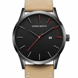 Hannah Martin KM11 original design men's quartz watch Japanese movement calendar IP vacuum plating 30m waterproof PU Leather Str