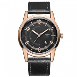 Hannah Martin 7011 original design men's quartz watch Japanese movement calendar IP vacuum plating 30m waterproofLeather Strap
