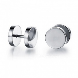 XSUNI Men's Titanium Steel Dumbbell Type Earrings - White