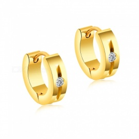 XSUNI Titanium Steel Fashion Simple Earrings For Men And Women - Gold (Pair)
