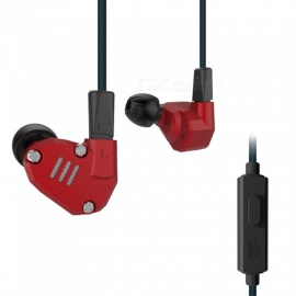 KZ ZS6 Balanced Armature With Dynamic In-ear Earphones Hybrid HiFi Headphones - Red (With Microphone)