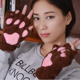 Ladies Winter Fingerless Gloves Fluffy Bear Cat Plush Paw Claw Half Finger Glove Half Cover Women Female Gloves Mitten Brown