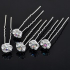 Bridal Wedding Proms Crystal Metal Hair Pin Clips (5-Pack)