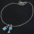 FashionCrystal Alloy Key + Lock Combined Necklace - Blue + Silver