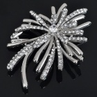 Elegant Crystal Alloy Flower Style Brooch Pin - Silver