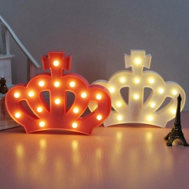 Imperial Crown Fairy Nightlight ABS Plastic Led Table Desk Lamp Home Room Atmosphere Wedding Decoration Creative Gift Pink