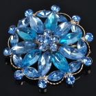 Elegant Imitated Crystal Alloy Brooch Pin - Blue + Gold