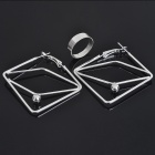 Fashion Earrings + Opening Ring Jewelry Set - Silver (10-Set Pack)