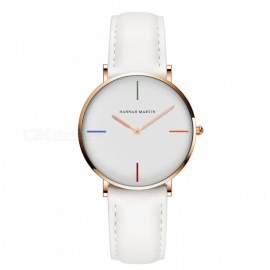 Hannah Martin 3801 Original Design Fashion Women'S Quartz Watch Japanese Movement IP Vacuum Plating 30M Waterproof PU Leather