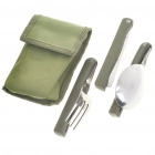 Set of 3 Outdoor Portable Folding Knife + Spoons + Fork Dinner Set
