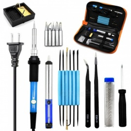 US Plug 110v 60w Adjustable Temperature Electric Soldering Iron Kit+5pcs Tips Portable Welding Repair Tool Tweezers Solder Wire