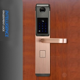 ZHAOYAO Security Electronic Optical Fingerprint Digital Smart Door Lock for Home With Password & RFID Card Unlocked - Bronze