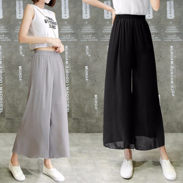 2366b844fd Summer Stretch Soild Loose Wide Leg Pants Female Long Women Pleated Pant  Feet Straight Casual Chiffon Trousers Black/XL - Worldwide Free Shipping -  DX