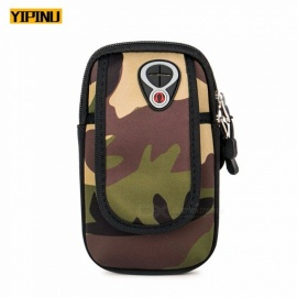 YIPINU Camouflage Exercise Armband Arm Bags Cell Phone Arms Package Sports Jogging Run Bag Waterproof Gym Pouch Blue