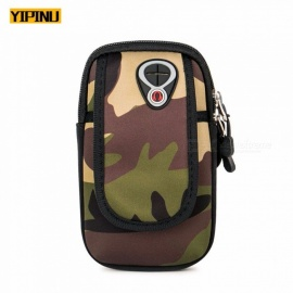 YIPINU Camouflage Exercise Armband Arm Bags Cell Phone Arms Package Sports Jogging Run Bag Waterproof Gym Pouch Green