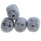 Cao Maru Stress Balls 4 Lovely Faces Set - Pleasant/Anger/Crying/Laughing (Black)