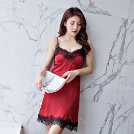 Fashion Ladies Sling Sexy V-Neck Strap Nightdress Lace Female Sleeping Summer Dresses For Women Sleepwear Sleepshirts Black/M