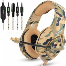 ONIKUMA K1 Camouflage PS4 Headset Bass Gaming Headphones Game Earphones Casque With Mic For PC Mobile Phone New Xbox One Yellow