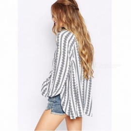 Stylish Loose Vertical Stripe Shirt Spring Autumn Long Sleeves Blouse Women Thin Casual Shirts White/S