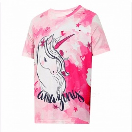 Summer New Cartoon Cute Unicorn Pattern Pink Short Sleeves Round Neck Loose T-shirt Female Pink/One Size