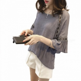 Summer Women Tops O-Neck Hollow Out Shirts Ruffles Flare Three Quarter Sleeve Loose Blouse Shirt Fashion Female Clothes Dark Grey/M
