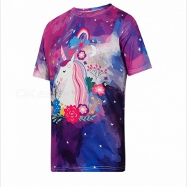 Women\'s Fashion Unicorn Pattern Printing T-Shirt Round Neck Summer Stylish Female T-Shirt - Purple Purple/One Size