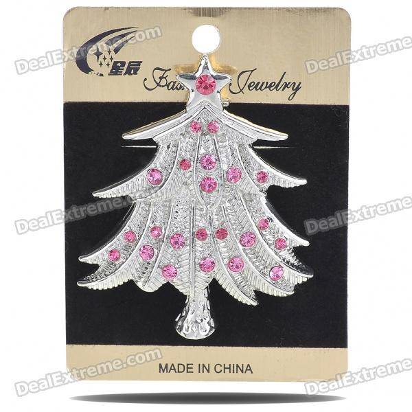 Charming Christmas Tree Style Crystal Alloy Brooch - Silver + Red