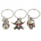Cute Alloy Skull Head Figure Keychains - Style Assorted (3-Pack)