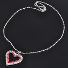 Elegant Heart Shaped Imitated Diamond Alloy Necklace - Silver + Red